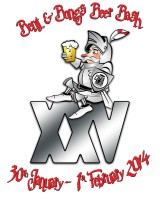 The 2014 beer festival logo - the beer festival knight sits atop a roman XXV with a pint in hand.